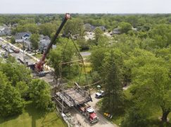 Historic, 114-Year-Old Bridge Lifted Back Into Place